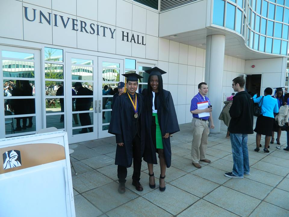 With a friend and fellow graduate (2014)