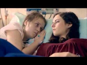 Naomi right before she dies of cancer (Skins)